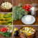 A collage of different photos representing raw vegetables